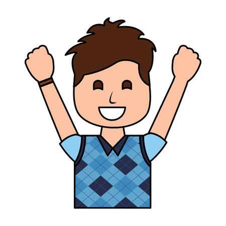 A portrait happy man with vest clothes raised hands vector illustration