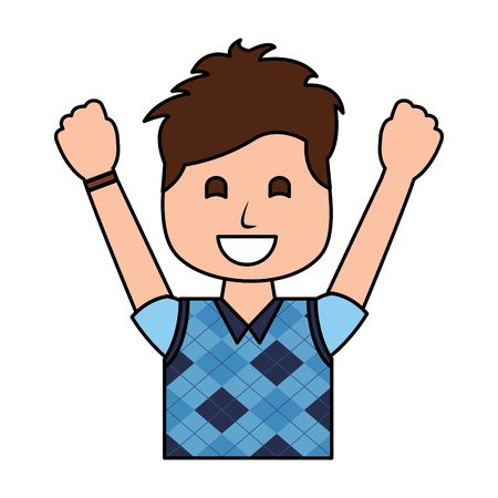 A portrait happy man with vest clothes raised hands vector illustration