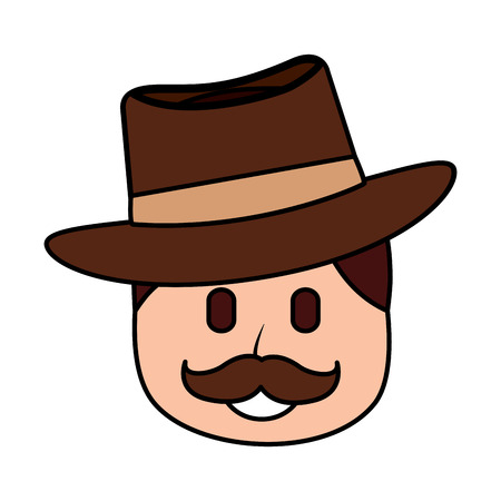 A character man face mustache and hat laughing expression vector illustration