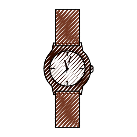 A classic analog mens wrist watch time accessory vector illustration drawing Illustration