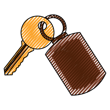 A key with key chain access door vector illustration vector illustration drawing