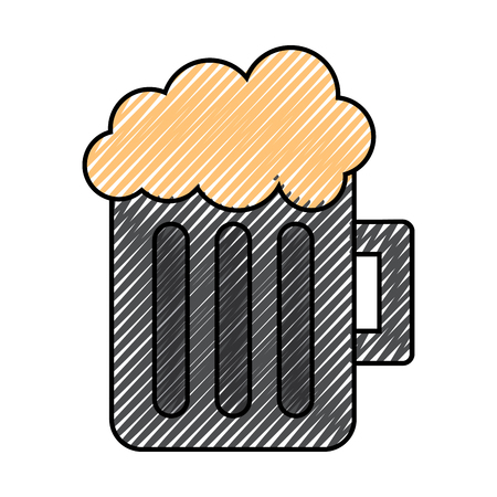 A glass beer mug foamy drink alcohol vector illustration drawing image