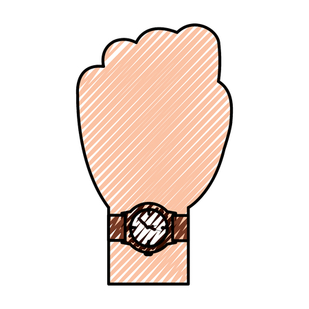 Hand with wrist watch accessory image vector illustration drawing image Illustration