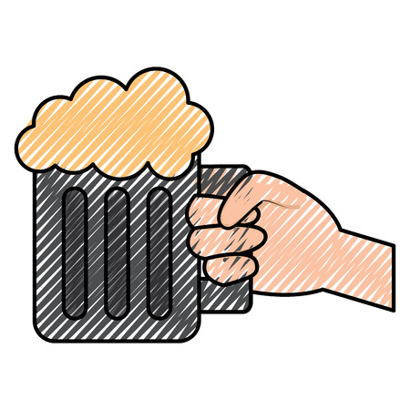 Hand holding mug of beer vector illustration drawing image Illusztráció