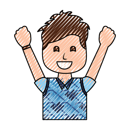 Portrait of a happy man with vest clothes and raised hands vector illustration