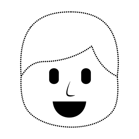 Character man  laughing expression vector illustration in dotted line image Иллюстрация