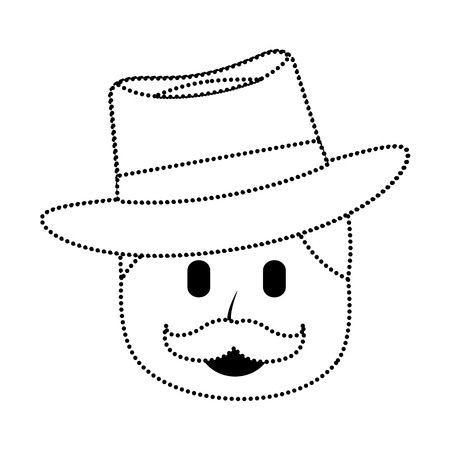 Character man with mustache and hat laughing expression vector illustration in dotted line image