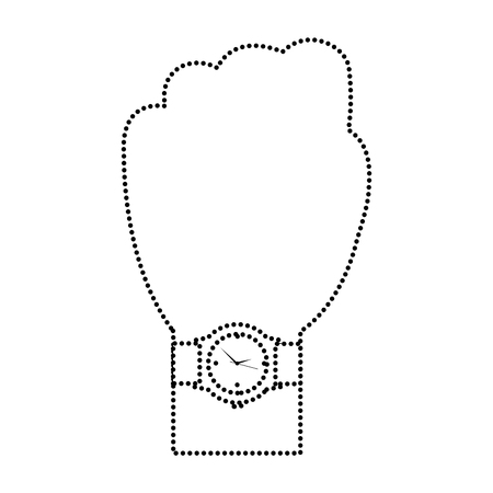 Hand with wrist watch accessory image vector illustration in dotted line image
