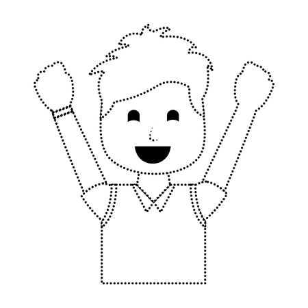 Portrait of a happy man with vest clothes and raised hands vector illustration in dotted line image Illustration