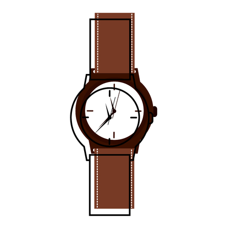 Classic analog mens wrist watch time accessory vector illustration