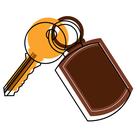 Key with keychain access door vector illustration