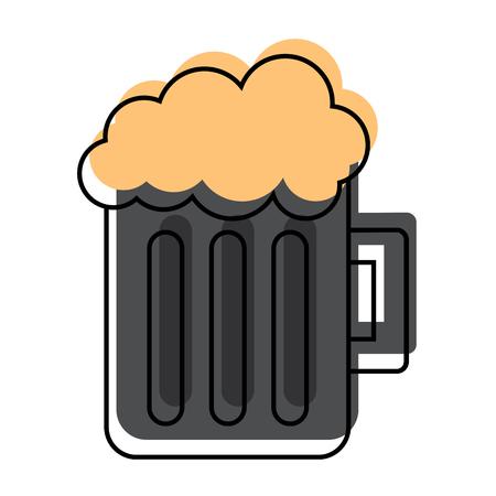 Glass beer mug foamy drink alcohol vector illustration
