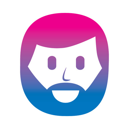 character man beard face laughing expression vector illustration degraded color image