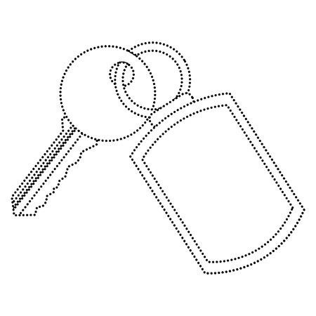 A key with key chain access door vector illustration vector illustration dotted line image