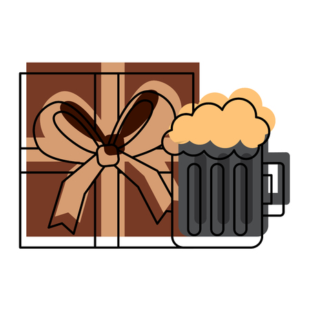 A gift box wrapped and glass beer foam drink vector illustration Illustration