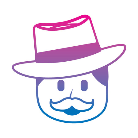 character man face mustache and hat laughing expression vector illustration degraded color image