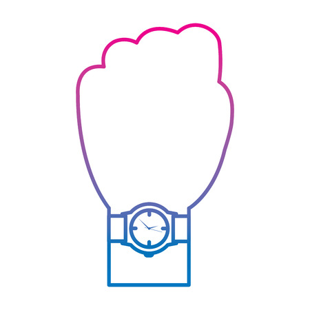 hand with wrist watch accessory image vector illustration degraded color image Illustration