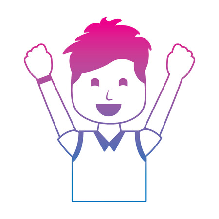 portrait happy man with vest clothes raised hands vector illustration degraded color image  イラスト・ベクター素材