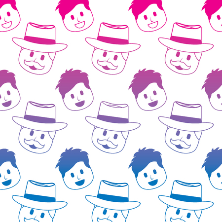 smiling happy faces man with hat and mustache background vector illustration degraded color image