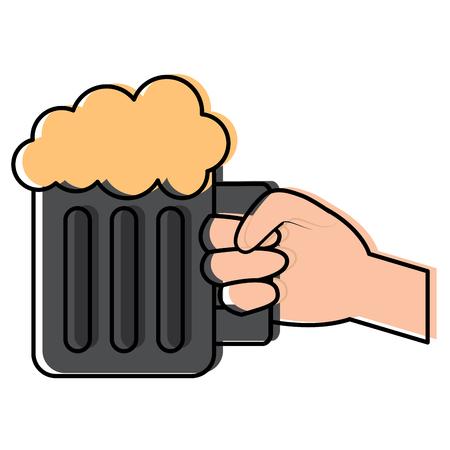 hand met glas bier schuimend drankje vector illustratie