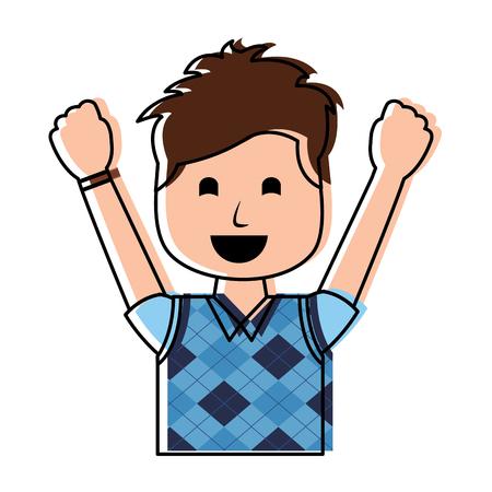 portrait happy man with vest clothes raised hands vector illustration Ilustração