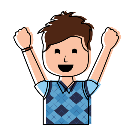 portrait happy man with vest clothes raised hands vector illustration Illustration