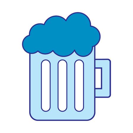 glas bier mok schuimend drankje alcohol vector illustratie blauw beeld