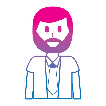 cartoon smiling man portrait character vector illustration degraded color image Ilustrace