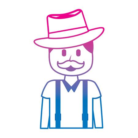 cartoon smiling man portrait character vector illustration degraded color image Illusztráció