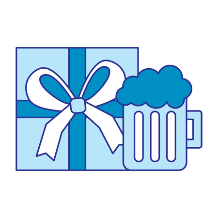 gift box wrapped and glass beer foam drink vector illustration blue image