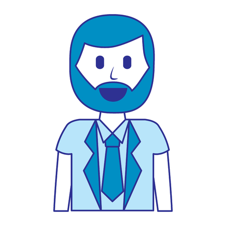 cartoon smiling man portrait character vector illustration blue image