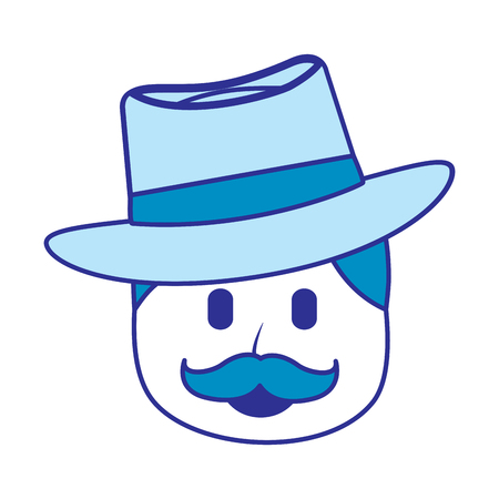character man face mustache and hat laughing expression vector illustration blue image Illustration