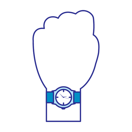hand with wrist watch accessory image vector illustration blue image Illustration