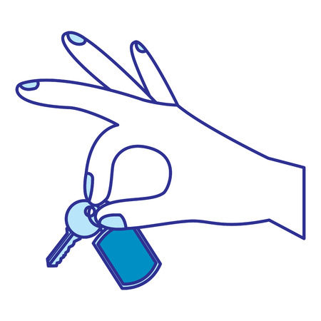 hand holding keychain and key vector illustration blue image