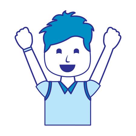 portrait happy man with vest clothes raised hands vector illustration blue image