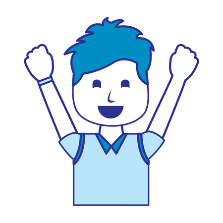 portrait happy man with vest clothes raised hands vector illustration blue image