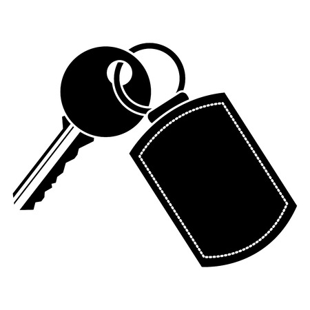 key with keychain access door vector illustration vector illustration black and white image Vettoriali