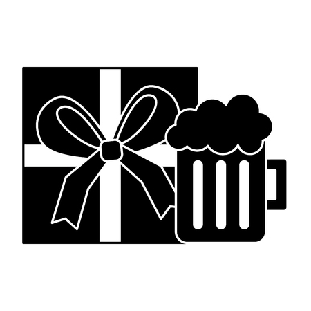gift box wrapped and glass beer foam drink vector illustration black and white image Illustration