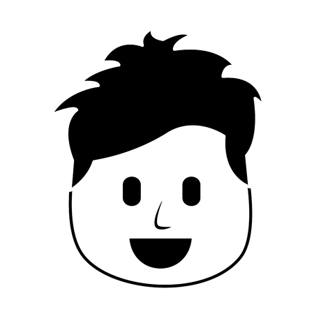 A character man face laughing expression vector illustration black and white image Illustration