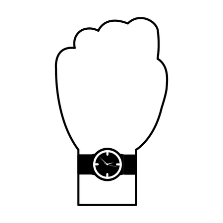 A hand with wrist watch accessory image vector illustration black and white image