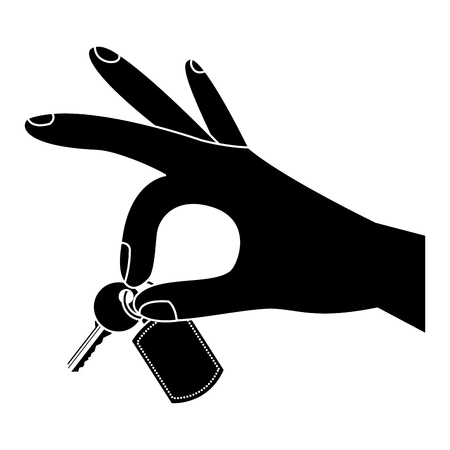 A hand holding key chain and key vector illustration black and white image Stock Illustratie