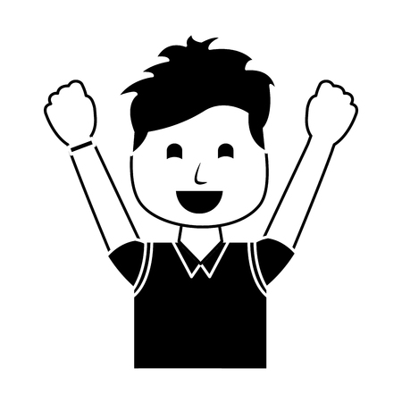 A portrait happy man with vest clothes raised hands vector illustration black and white image