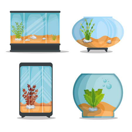 set beautiful aquariums icons vector illustration design