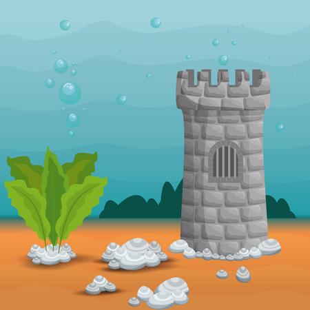 beautiful aquarium scene icon vector illustration design Stock Vector - 96984244