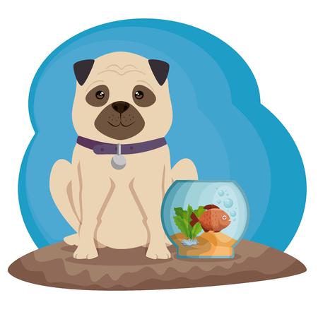 Bowl aquarium with fish and dog vector illustration design.