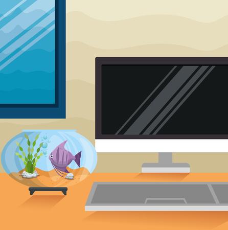 Bowl aquarium with fish in workplace vector illustration design. Stock Vector - 97143870