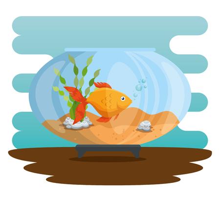 Bowl aquarium with fish vector illustration design.