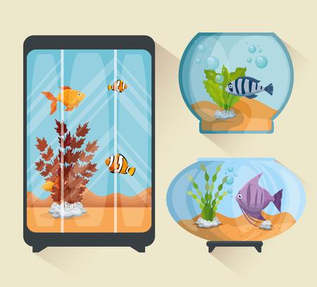 Set beautiful aquariums icons vector illustration design.  イラスト・ベクター素材