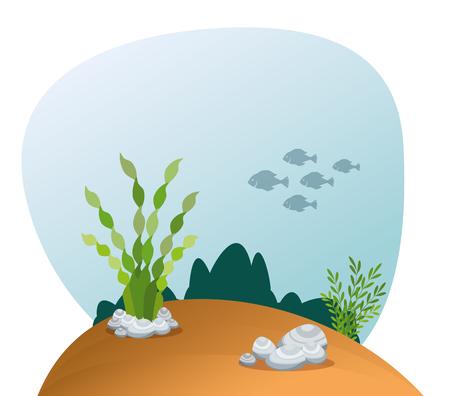 Beautiful aquarium scene icon vector illustration design. Stock Illustratie