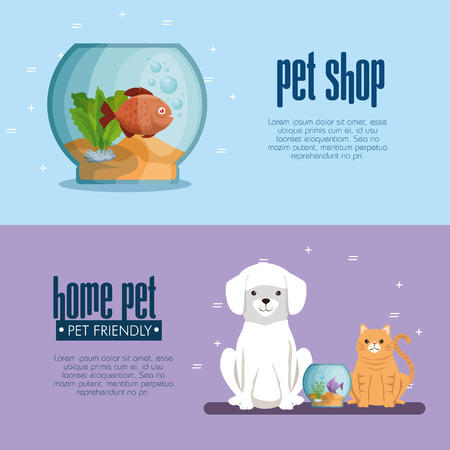 Pet shop mascots icons vector illustration design.